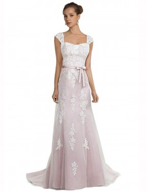 Shop Mermaid Strapless Tulle & Lace Long Sweep Train Ivory & Pink Logan Wedding Dress Victoria