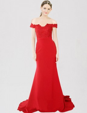 Shop Mermaid Sweetheart Off the Shoulder Stretch Crepe & Lace Long Sweep Train Floor Length Red Dawn Bridesmaid Dress Victoria
