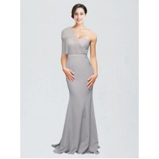 Mermaid Sweetheart One Shoulder Stretch Crepe Long Sweep Train Floor Length Oyster Silver Dominic Bridesmaid Dress