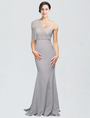 Shop Mermaid Sweetheart One Shoulder Stretch Crepe Long Sweep Train Floor Length Oyster Silver Dominic Bridesmaid Dress Victoria