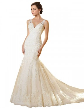 Shop Mermaid V-Neck Lace & Tulle Long Chapel Train Ivory & Champagne Emerson Wedding Dress Victoria