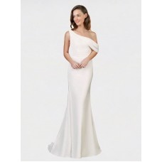 Sheath One Shoulder Stretch Crepe Long Sweep Train Ivory Cantrell Bridesmaid Dress