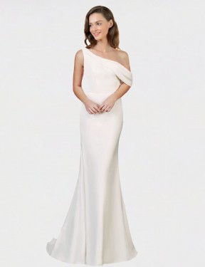 Shop Sheath One Shoulder Stretch Crepe Long Sweep Train Ivory Cantrell Bridesmaid Dress Victoria